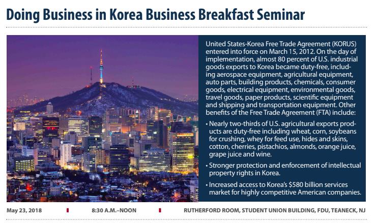 Last Chance to Register! – FDU: Doing Business in Korea