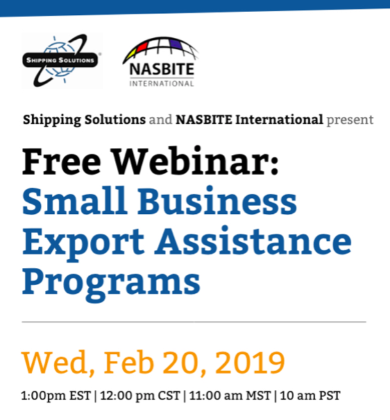 NASBITE International and Shipping Solutions Present a FREE Webinar on February 20